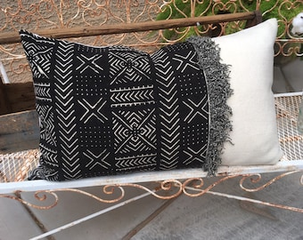 Authentic Mudcloth and White Wool Pillow Cover  with Fringe   Industrial / Lodge / Lake House/ Masculine / Farmhouse  Ready to Ship