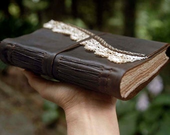 Thoughtlands - Dark Brown Leather Journal, Tea-Stained Pages, Vintage Lace - OOAK