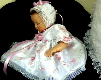 DRESS Dusty Rose Floral White Organza BABY REBORN  Victorian