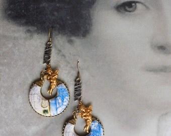 Portugal  Antique Azulejo Tile Replica Chandelier Earrings  Aveiro,  Meu Tanto Amor Postcard Palace Art Nouveau Neoclassic Romantic