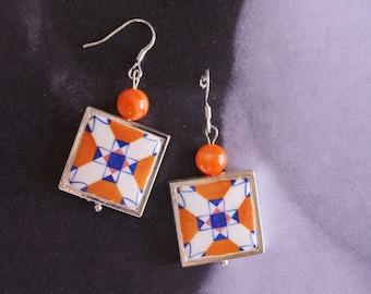 SILVER Earrings Portugal Antique Orange Azulejo Tile  Replica Porto- Ribeira - Arab Persian Majolica  Gift Box Included - reversible 1606