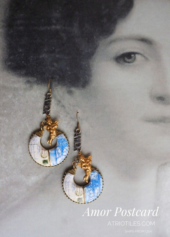 Portugal  Antique Azulejo Tile Replica Chandelier Earrings  Aveiro,  Meu Tanto Amor Postcard Palace Art Nouveau Neoclassic Romantic