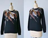 Vintage 1980s Black Sequined Sweater / Slouchy Angora  Knit Sweater / Disco / Gold Silver Copper Sequins