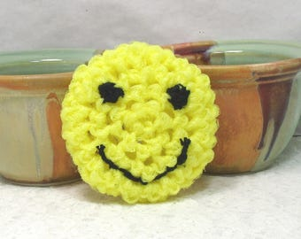 Pot Scrubbers. Emoji, yellow, scour pad, scrubbie, durable, kitchen, eco-friendly, home, nylon scrubbie. 2pk Emoji Scrubbers for you.