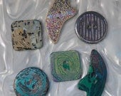Sewing Buttons 6 Large Very Unusual Handmade Sewing Buttons