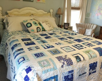 100 Days Sky Quilt, blues, a meaningful project, READY TO SHIP, queen size