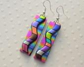 Bohemian Earrings - Hippie Earrings - Dichroic Fused Glass Earrings - Dichroic Earrings - Hippie Jewelry - Rainbow Earrings - Boho X7519