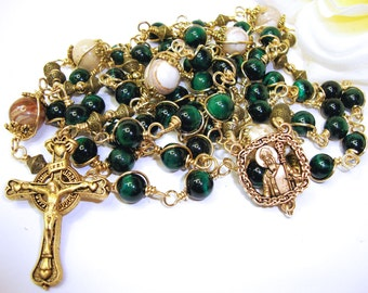 Catholic Rosary, St. Patrick rosary in glossy green tiger eye, wire-wrapped, Cladaugh crucifix, St. Patrick center, wire wrapped,unbreakable