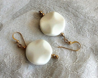 White Onyx and Gold Fill Earrings