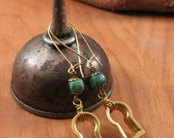 Vintage Keyhole Escutcheon Turquoise Nugget Beaded Brass Kidney Wire  Earrings   Repurposed Cabinet Hardware   Steampunk