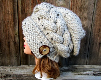 Cable Knit Cloche Pattern - Newsboy Hat Pattern - Instant Download PDF - Cloche Hat Tutorial - Slouchy Hat Pattern - 2 patterns in 1