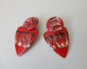 VINTAGE 80s red black ivory marbled DANGLE post EARRINGS