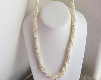 """Lovely 30"""" 5 strand freshwater rice pearl necklace or 15"""" 10 strand choker, 14K yellow gold filigree clasp, free US first class shipping"""