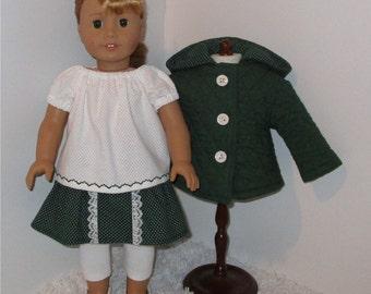 "Hunter Green 4-Piece Jacket Set, Fits 18"" Dolls // AG Doll Jacket, American Girl Jacket, Doll Skirt and Blouse, Leggings, Doll Jacket Set"