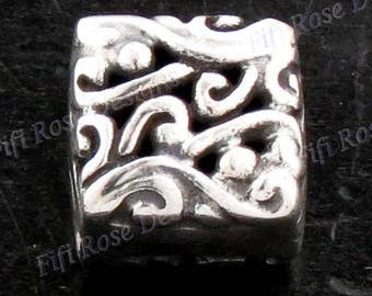 "1/4"" Square Both Side Bali Scroll 925 Sterling Silver Design Component Finding"