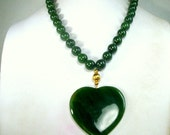 Green JADE HEART Pendant, Valentine On Knotted Round Jade 10mm Bead Necklace, Asian Chinese Stone