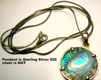Sterling Abalone  Pendant on Silver Chain,  1980s  Irridescent Turquoise Green Paua Shell