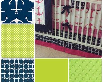 Baby Boy Crib Bedding Set Lime Green and Navy Nautical Anchor Made to Order