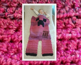MOB Gamer Blanket, 12-24 Month Blanket,Crocheted MOB Blanket, Hot Pink & Purple, Sleep Sack, Ready To Ship, Girl Gamer Blanket