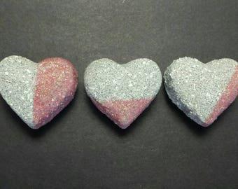 Heart Fridge Magnets Set of 3, Concrete Heart Magnets, Hostess Gifts, Pink Kitchen Decor, Office Decor, Kitchen Decor, Decorative Concrete