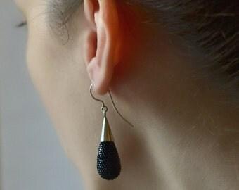 dangle earrings  sparkling drop ear dangles , black , silver hooks