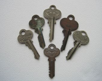 6 Vintage Flat Keys, Decorative Flat Keys, Independent Lock Co., Russwin, Sargent, P & F Corbin Key, jewelry Supplies, Craft Supplies