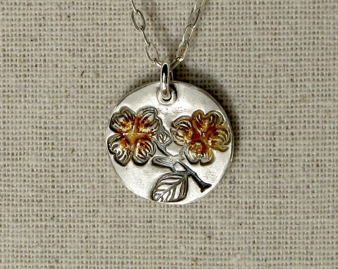 Dogwood Necklace with Enamel