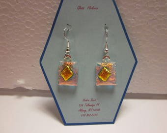 Fused glass earrings-clear dichroic with gold dichroic center