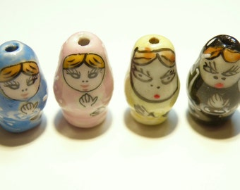 DESTASH - Four (4) Smaller Hand-Painted Ceramic Matryoshka Russian Nesting Dolls -- Assorted Colors  -- Lot 3K