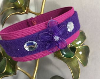 Teen/Womens' Hot Pink/Purple Stretch Cuff/Bracelet/Wristband With Floret and Faux Beading