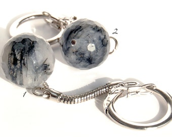 Tourmalinated Quartz Keychain, Easy Open Keychain, Tourmilated Quartz Flexible Keychain, Rock Hound Gift, Faceted Quartz Sphere, Guy Gift