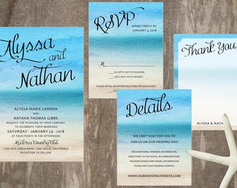 Beach Wedding Invitation, Destination Wedding Invitation, Tropical Wedding Invitation, Ocean Wedding, Beach Wedding Theme