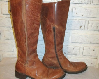 Vintage Vero Cuoio Boots Leather Tan Boots Size 37 Made in Italy Bohemian Distressed Weathered Grunge 6.5 6 1/2