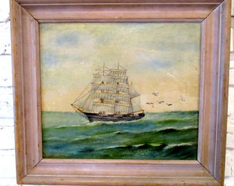 Vintage Antique Framed Clipper Ship Painting Original Nautical Wall Art signed D.D. Beekman