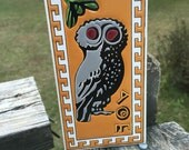 Vintage Owl Tile--Ceramic Decal Rectangle Wall Tile--Made in Greece--Greek Boho Style Owl Wall Tile--Decorative Cottage Chic Tile