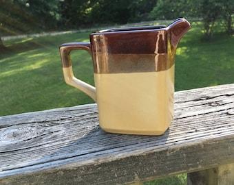 Vintage Nevco Rockingham Type Creamer--Retro Kitchenware--Syrup Pitcher--Monochromatic Cream Pitcher--Farmhouse Country Decor