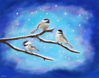 "Bird Art Print Giclee Bird Art Print Bird Painting Chickadee Art WInter Chickadees Art  ""SWEETEST WINTER BIRDIES"" Leslie Allen Fine Art"