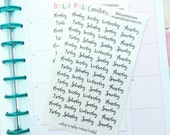 Days of the Week Stickers Clear- Clear Weekly Stickers -  Planner Stickers || (Set of 49 total)