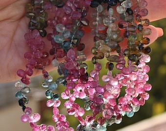 Pink Green Blue Gem Watermelon  Tourmaline Faceted Pear Briolette Drop Beads 4.25 inch strand October birthstone
