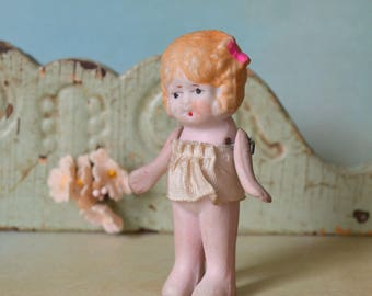 Small Vintage Bisque Doll with Jointed Arms Pink Bow & Skirt Japan