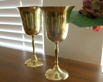 Brass Goblets Toasting Stemware Vintage 1980s Classic  Stemmed Wine Wedding Toast Champagne