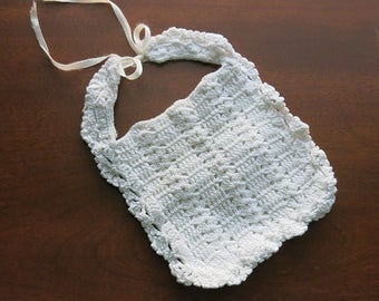 Crocheted Infant Baby Bib Vintage 1950s 60s Ribbon Tie White Cotton Yarn