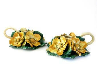Pair of CandleHolders Hand Molded Austrian Roses & Leaves Italian Pottery Vintage Shabby Cottage Decor 1960s