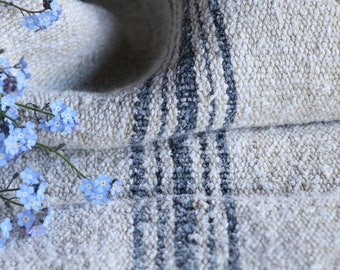 EP 198: antique handloomed faded INDIGO BLUE ;  grainsack pillow cushion runner 43.31 long wedding, french lin,wedding, spring, vintage