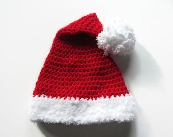 Crochet Baby Santa Hat - Crochet Christmas Baby Hat - Santa Claus Pom-pom Hat - Size 3 to 6 Months