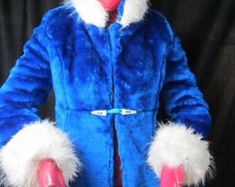 Sale! OOAK Fabulous Princess Seam Faux Fur Hip Length Coat -Royal Blue Faux Fur Jacket -Blue White Faux Fur Coat -Soft Fuzzy Flattering Coat