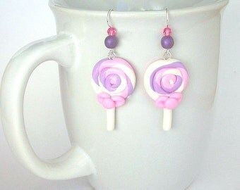 Pink and purple lollipop earrings, polymer clay, miniature food earrings, fake lollipop earrings