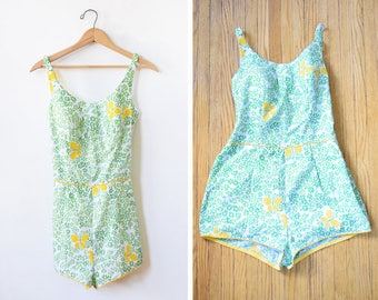 70s floral swimsuit, vintage 1970s cotton playsuit, green floral print romper with yellow butterflies, medium m