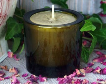 """Pure True BAYBERRY Wax Votive Jar Candle, """"Vintage Green"""" Glass Holder Master Crafted by Witchcrafts Artisan Alchemy, 100% Real Bayberry Wax"""
