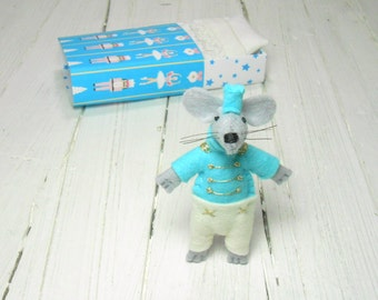 Stocking stuffer stuffed animal blythe pet tin soldier felt doll gold mouse in box turquoise quiet play set travel toy nursery decor